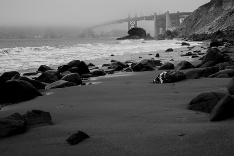 Marshall's Beach, black and white